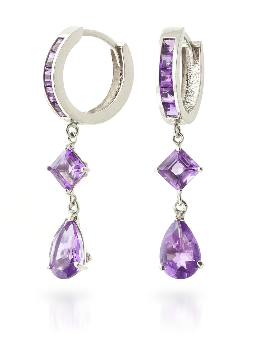 Amethyst Droplet Huggie Earrings 5.62 ctw in 9ct White Gold