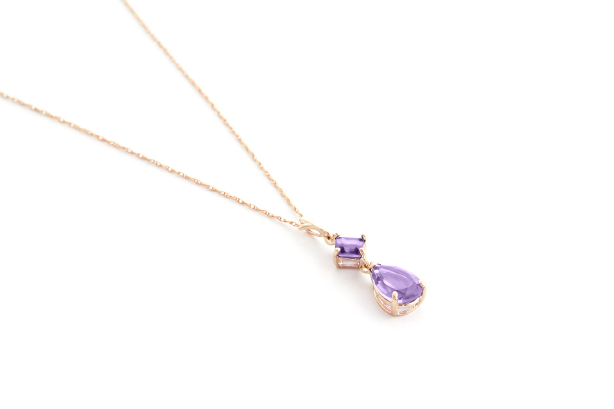 Amethyst Droplet Pendant Necklace 2 ctw in 9ct Rose Gold