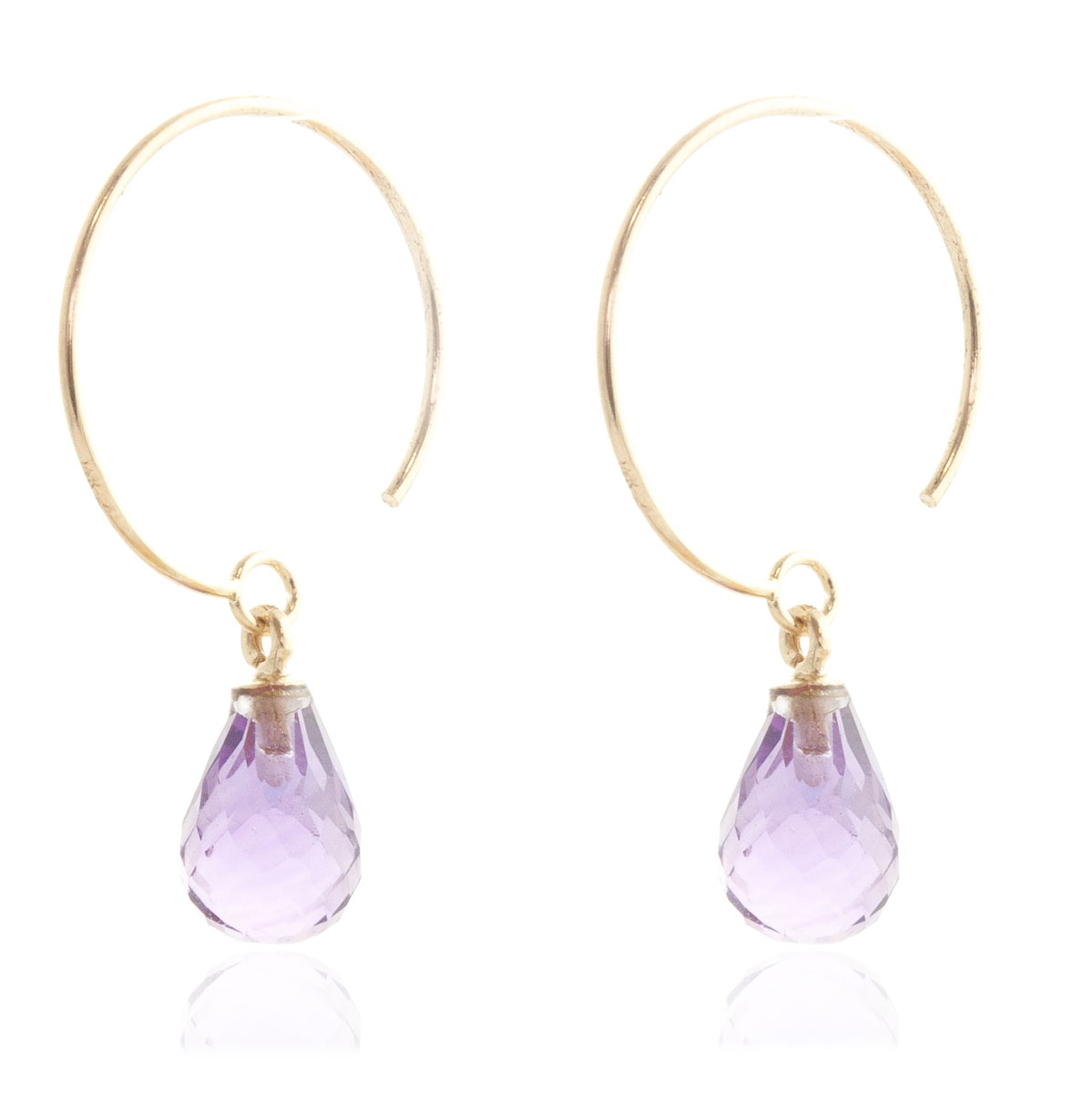 Amethyst Eclipse Circle Wire Earrings 1.35 ctw in 9ct Gold