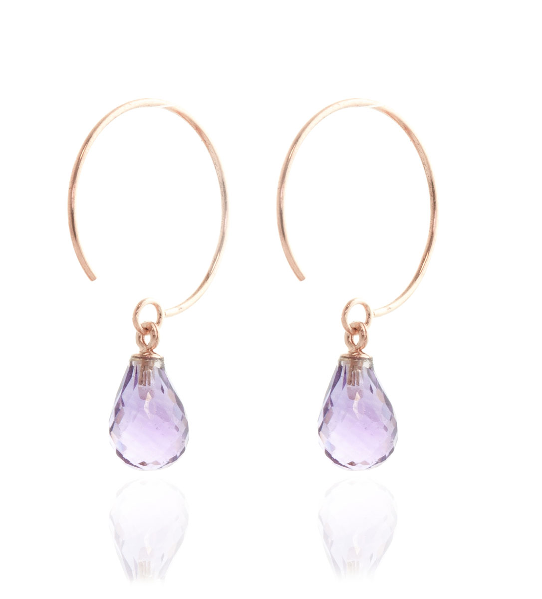 Amethyst Eclipse Circle Wire Earrings 1.35 ctw in 9ct Rose Gold