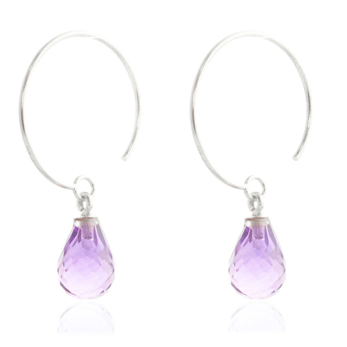 Amethyst Eclipse Circle Wire Earrings 1.35 ctw in 9ct White Gold