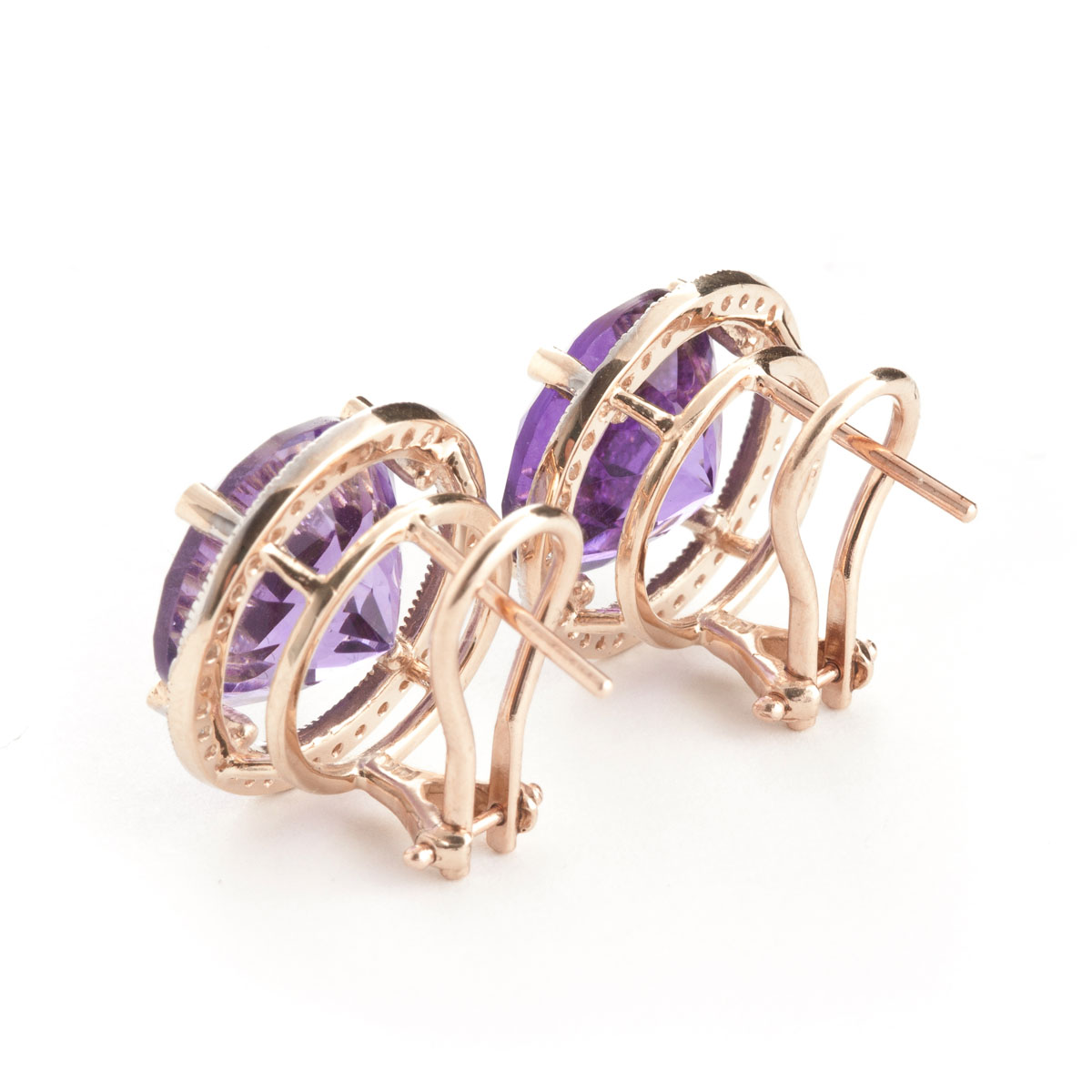 Amethyst French Clip Halo Earrings 12.4 ctw in 9ct Rose Gold