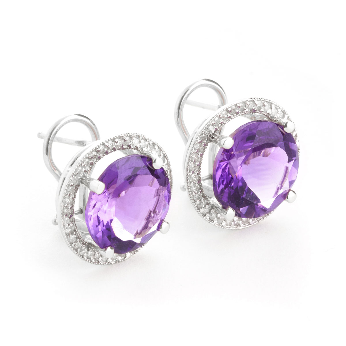 Amethyst French Clip Halo Earrings 12.4 ctw in 9ct White Gold