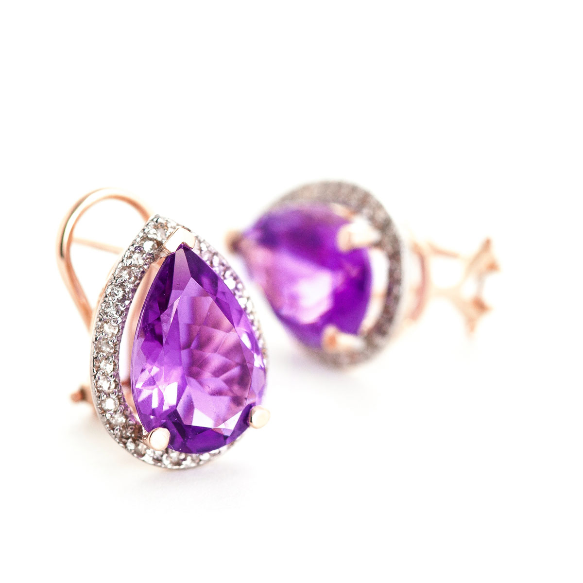 Amethyst French Clip Halo Earrings 6.82 ctw in 9ct Rose Gold