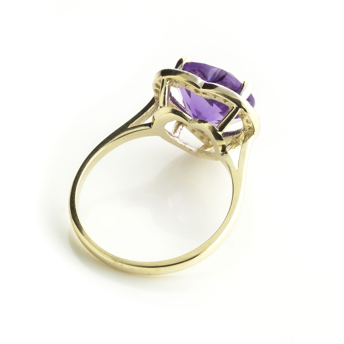 Amethyst Halo Ring 3.24 ctw in 9ct Gold