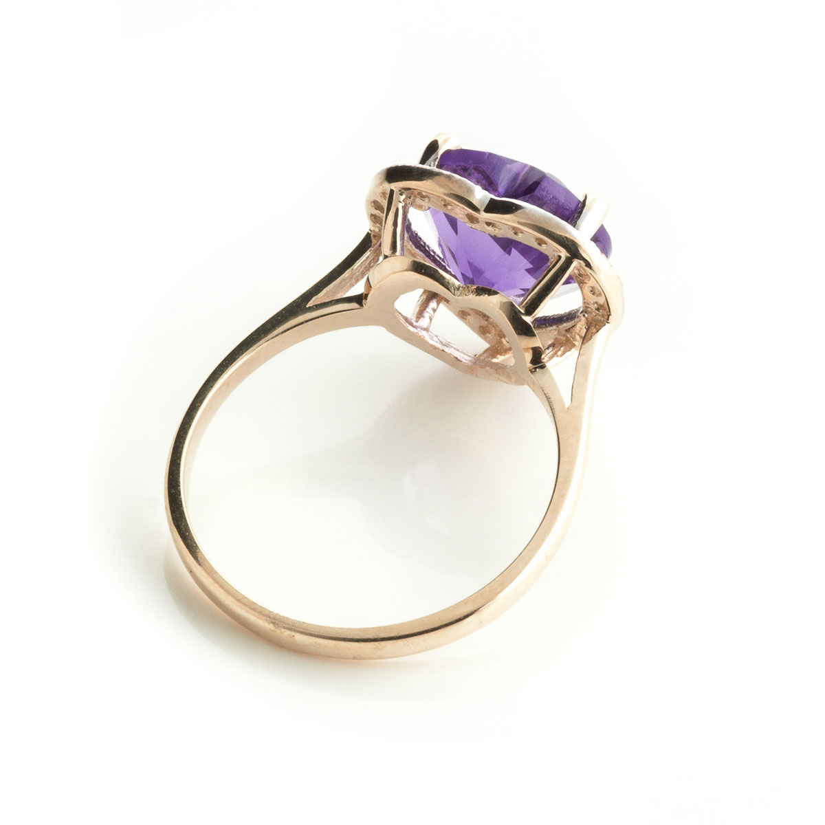 Amethyst Halo Ring 3.24 ctw in 9ct Rose Gold