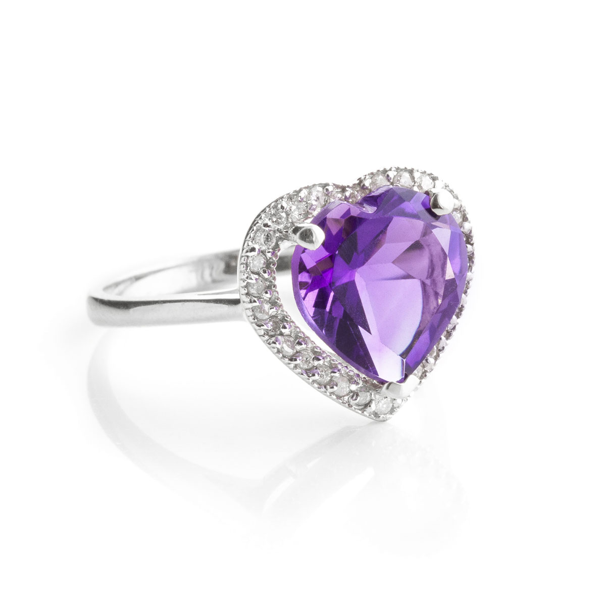 Amethyst Halo Ring 3.24 ctw in 9ct White Gold