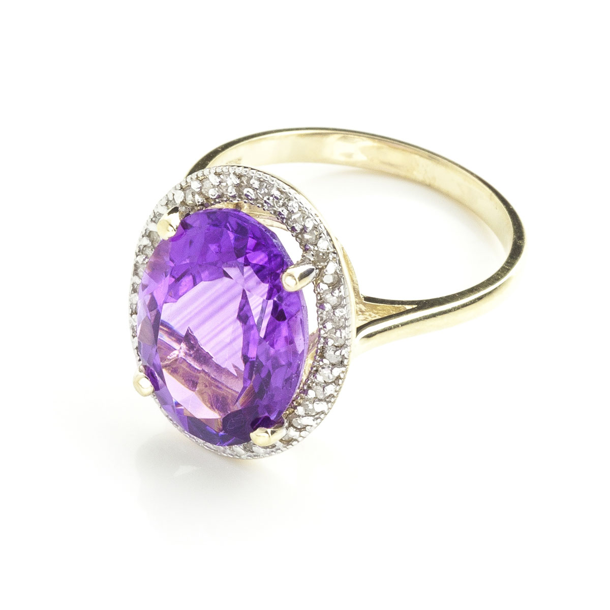 Amethyst Halo Ring 5.28 ctw in 9ct Gold