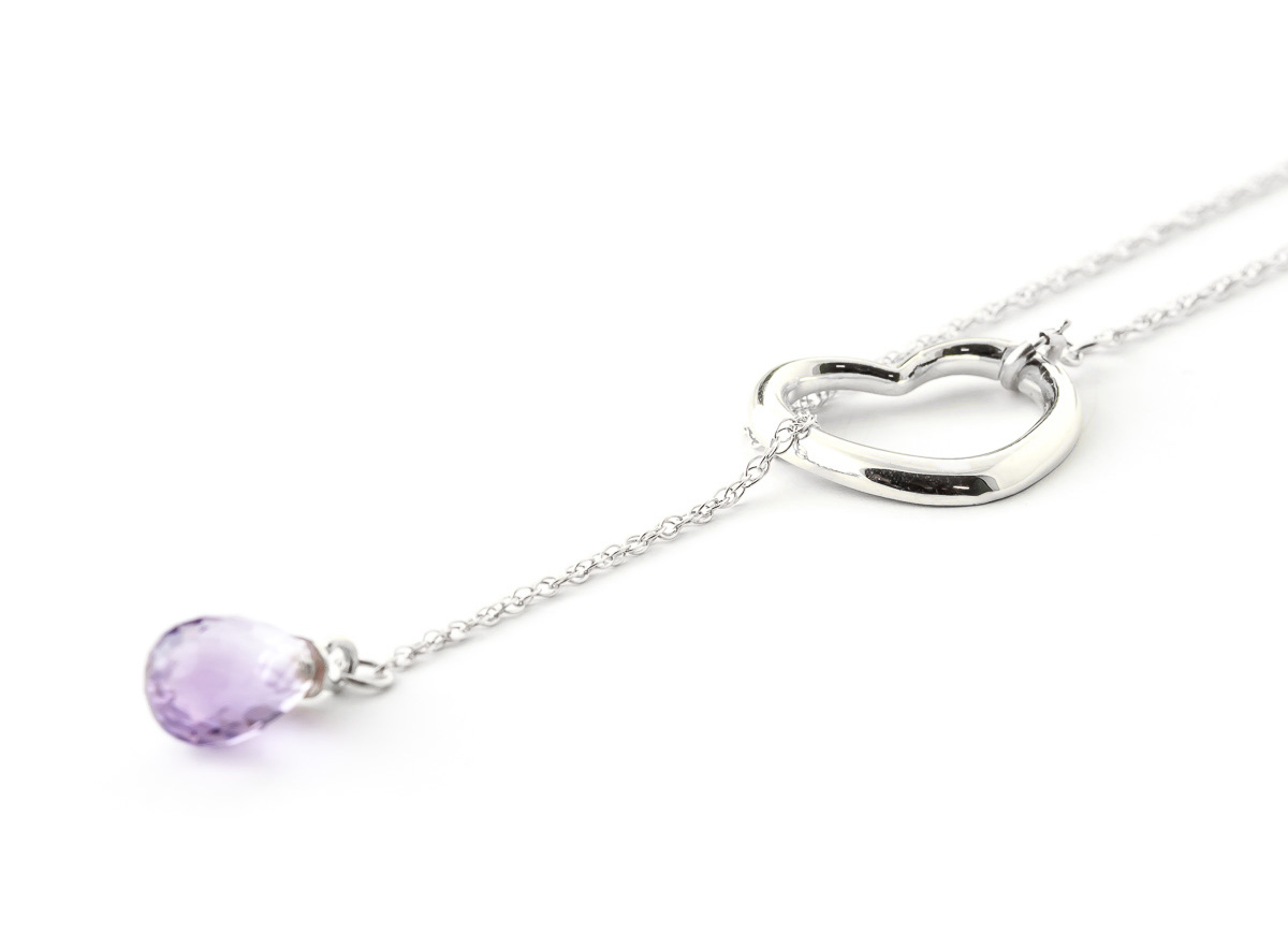 Amethyst Heart Drop Pendant Necklace 2.25 ct in 9ct White Gold