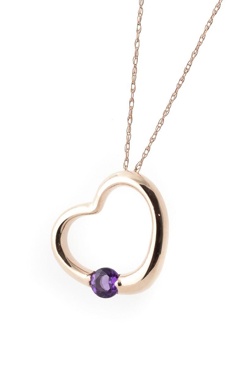 Amethyst Heart Pendant Necklace 0.25 ct in 9ct Rose Gold
