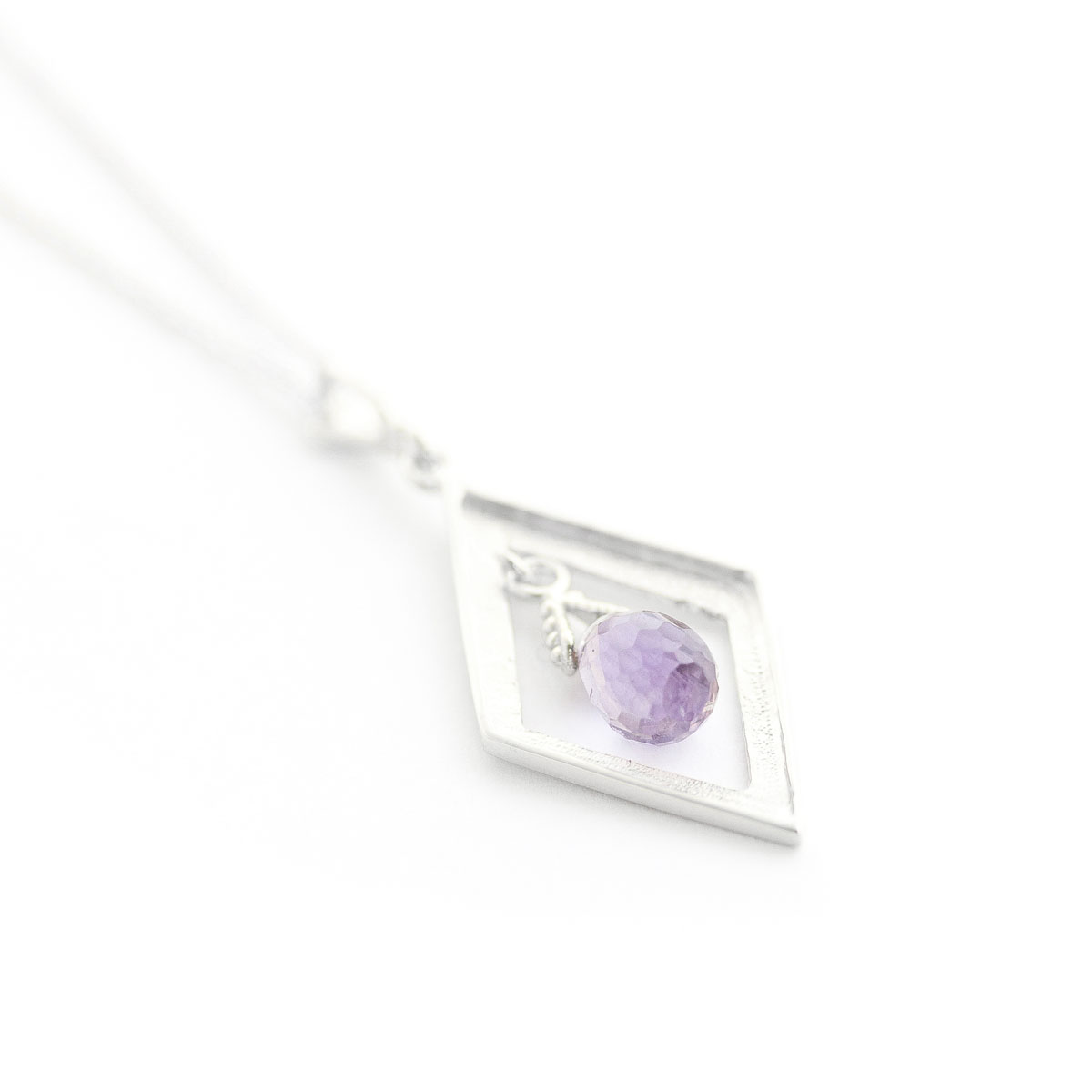 Amethyst Kite Pendant Necklace 0.7 ct in 9ct White Gold