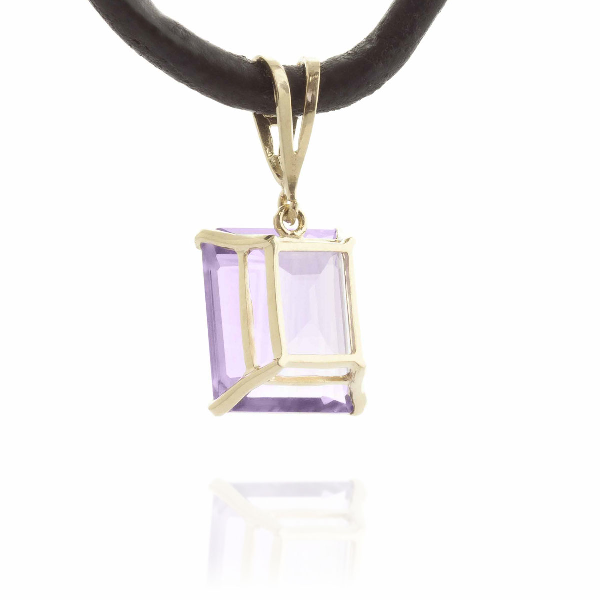 Amethyst Leather Pendant Necklace 6.51 ctw in 9ct Gold