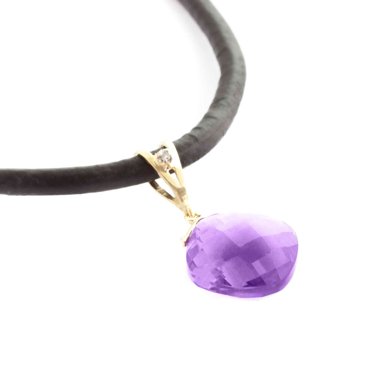 Amethyst Leather Pendant Necklace 8.76 ctw in 9ct Gold