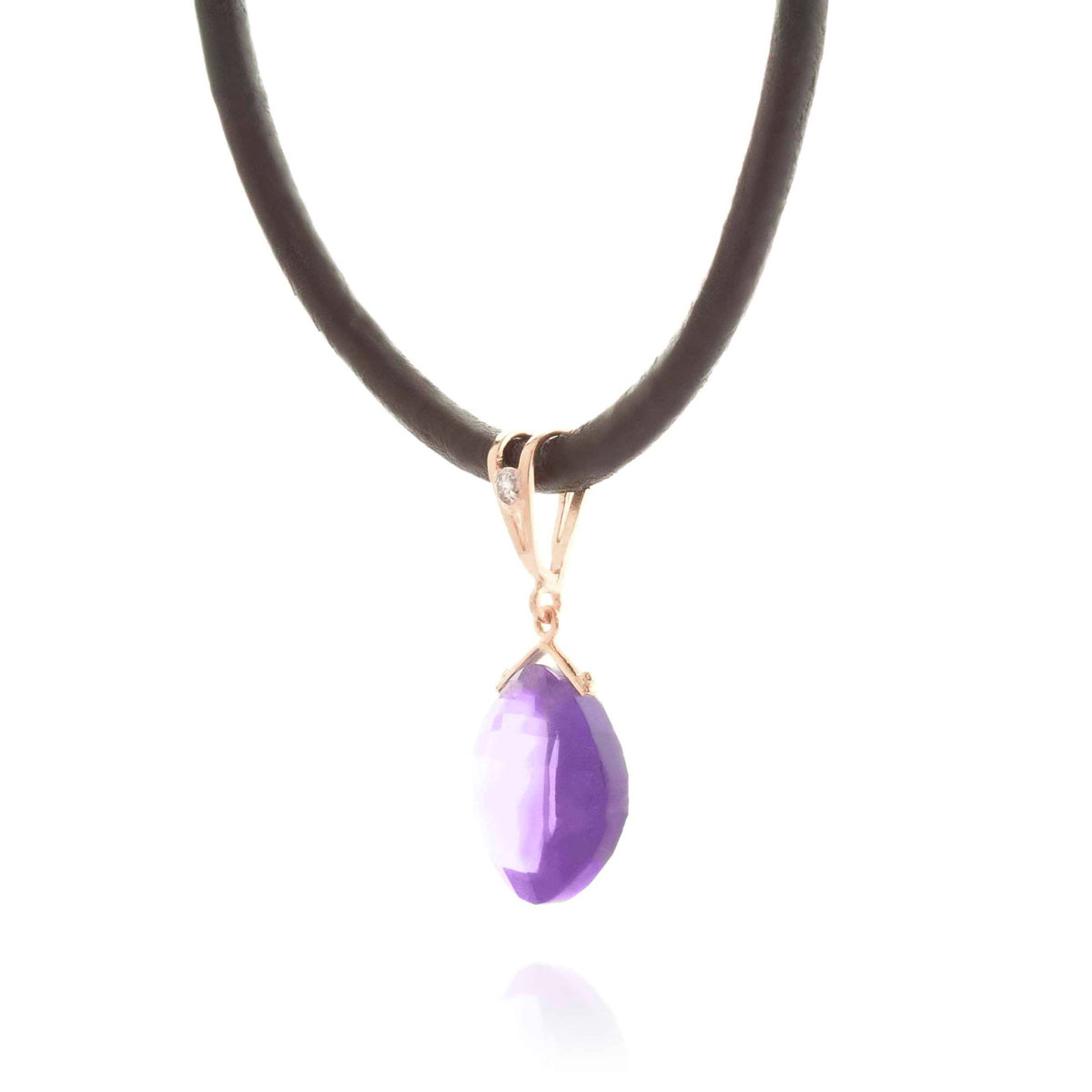 Amethyst Leather Pendant Necklace 8.76 ctw in 9ct Rose Gold