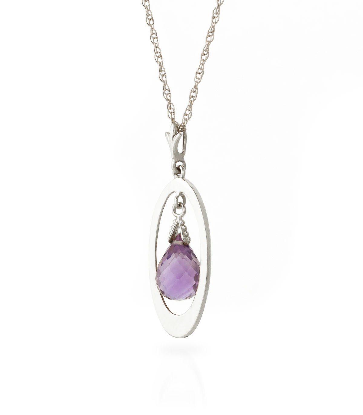 Amethyst Orb Pendant Necklace 0.7 ct in 9ct White Gold