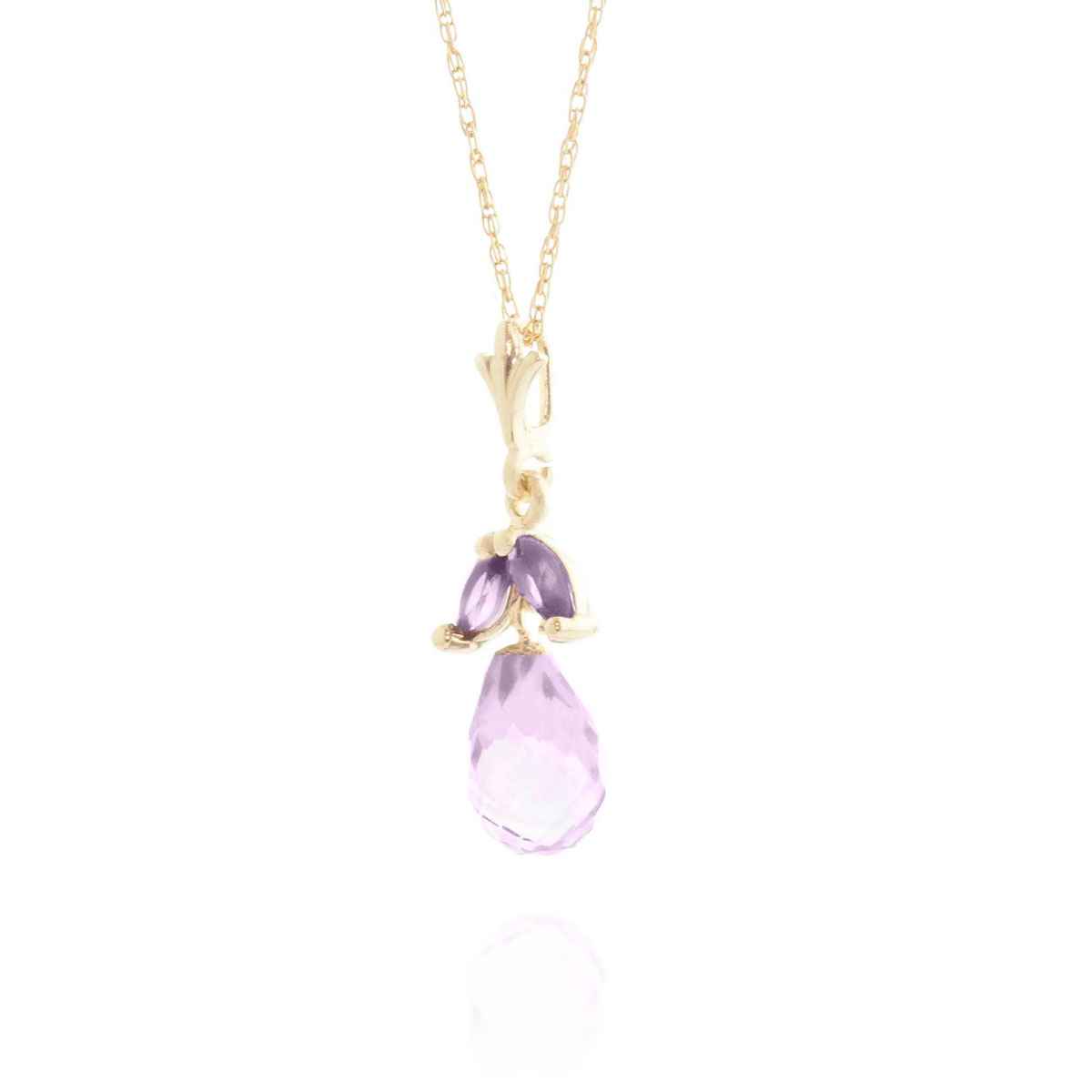 Amethyst Snowdrop Pendant Necklace 1.7 ctw in 9ct Gold