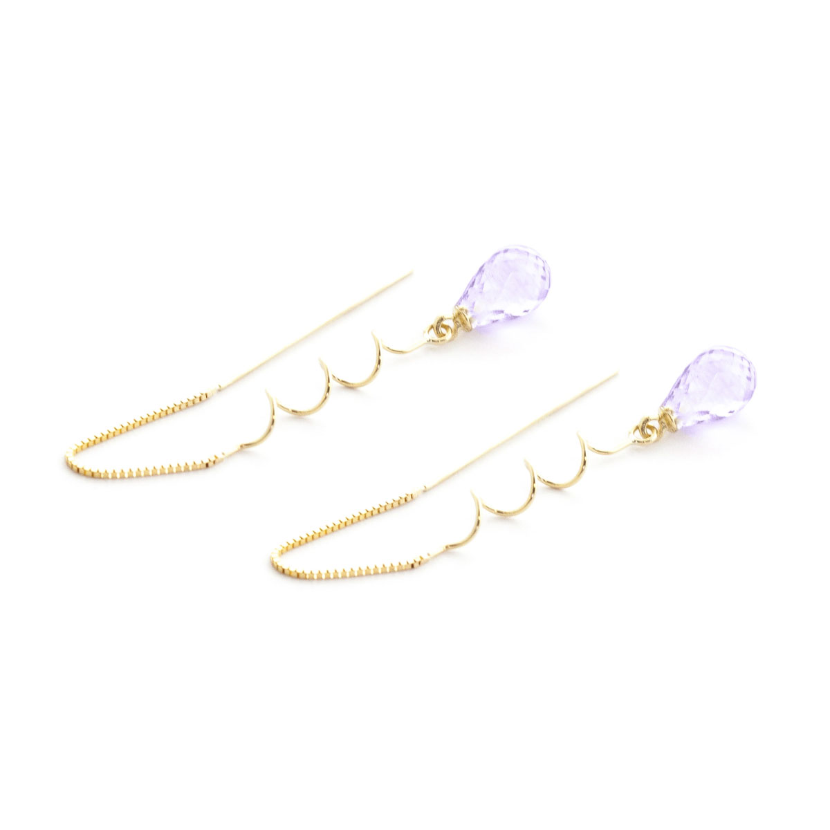 Amethyst Spiral Scintilla Earrings 3.3 ctw in 9ct Gold