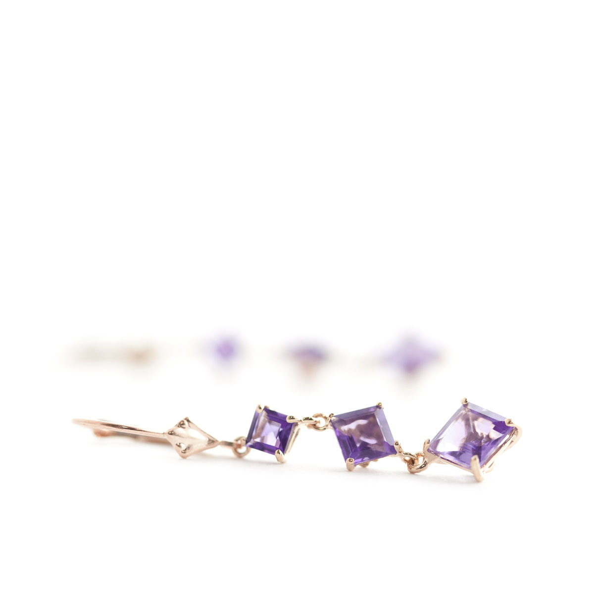 Amethyst Three Stone Drop Earrings 4.79 ctw in 9ct Rose Gold