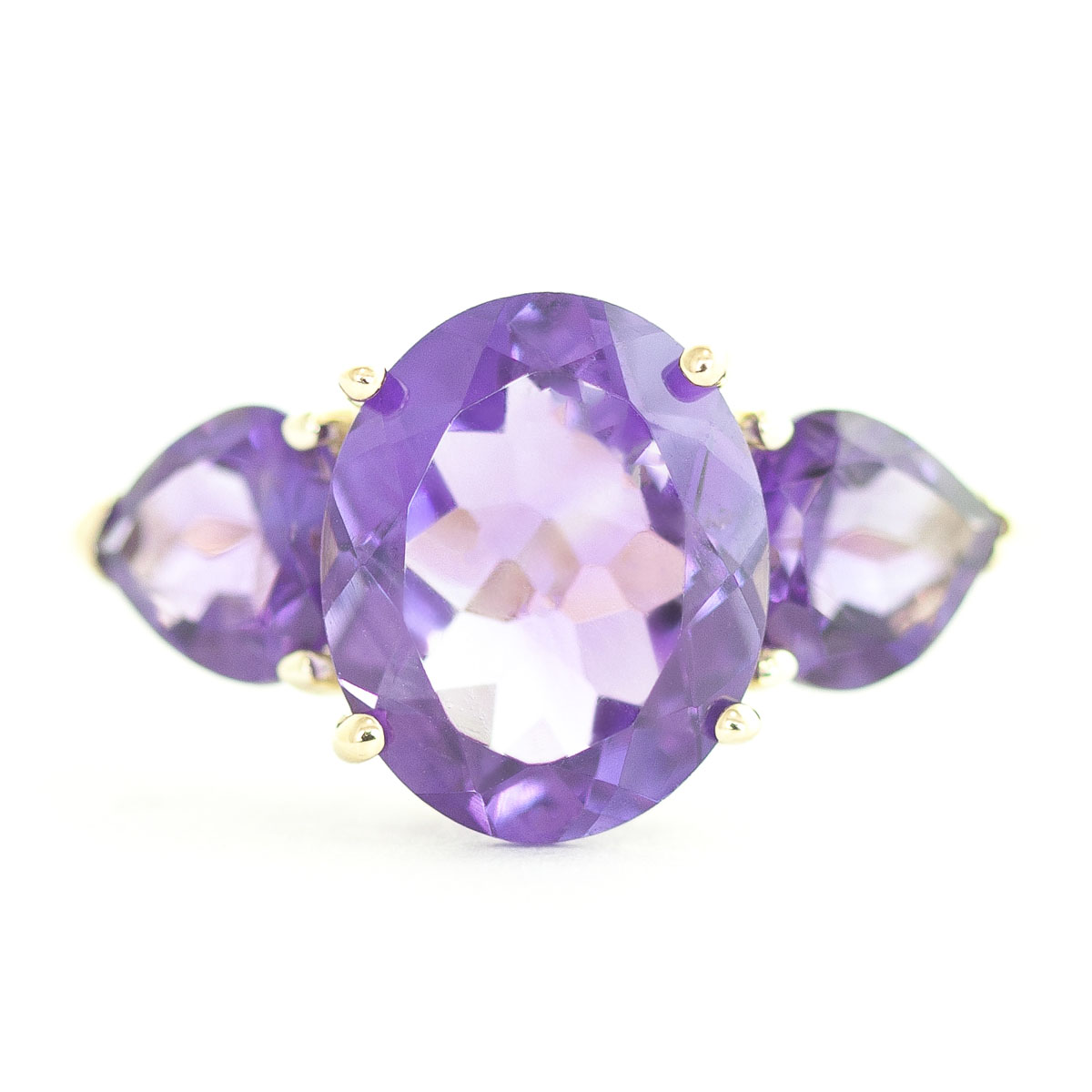 Amethyst Three Stone Ring 4 ctw in 9ct Gold