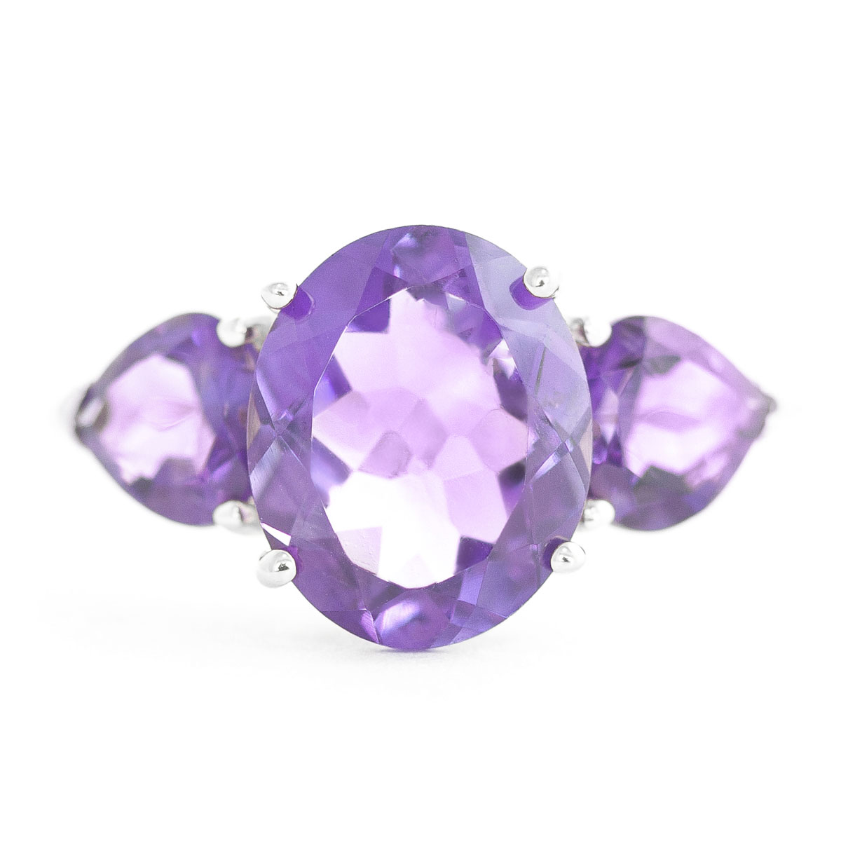 Amethyst Three Stone Ring 4 ctw in 9ct White Gold