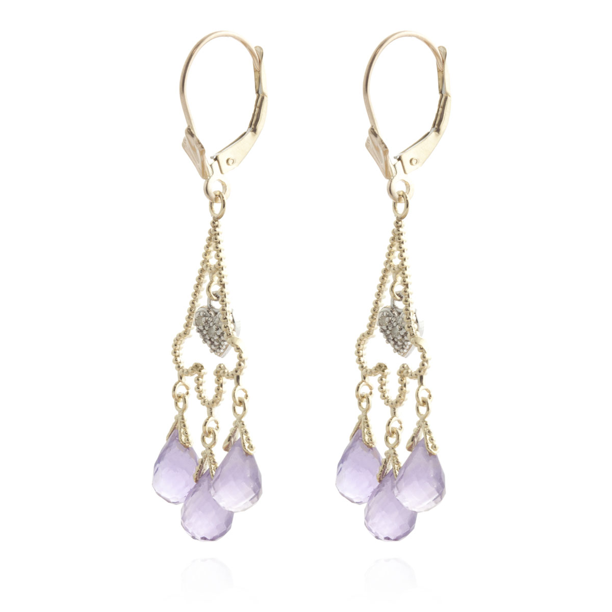 Amethyst Trilogy Drop Earrings 4.83 ctw in 9ct Gold