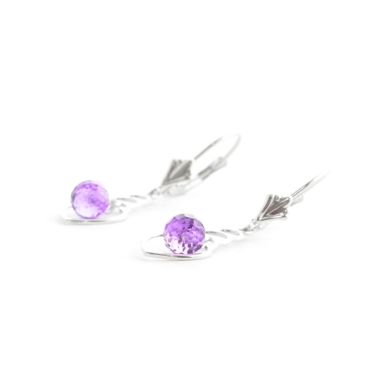 Amethyst Wireframe Drop Earrings 1.25 ctw in 9ct White Gold
