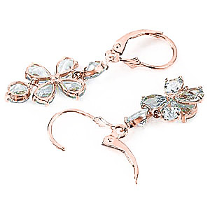 Aquamarine Blossom Drop Earrings 5.32 ctw in 9ct Rose Gold