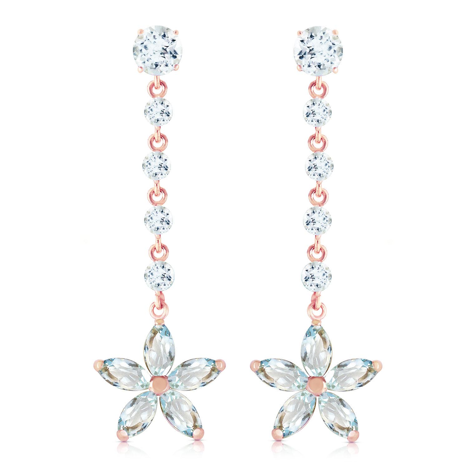 Aquamarine Daisy Chain Drop Earrings 4.8 ctw in 9ct Rose Gold