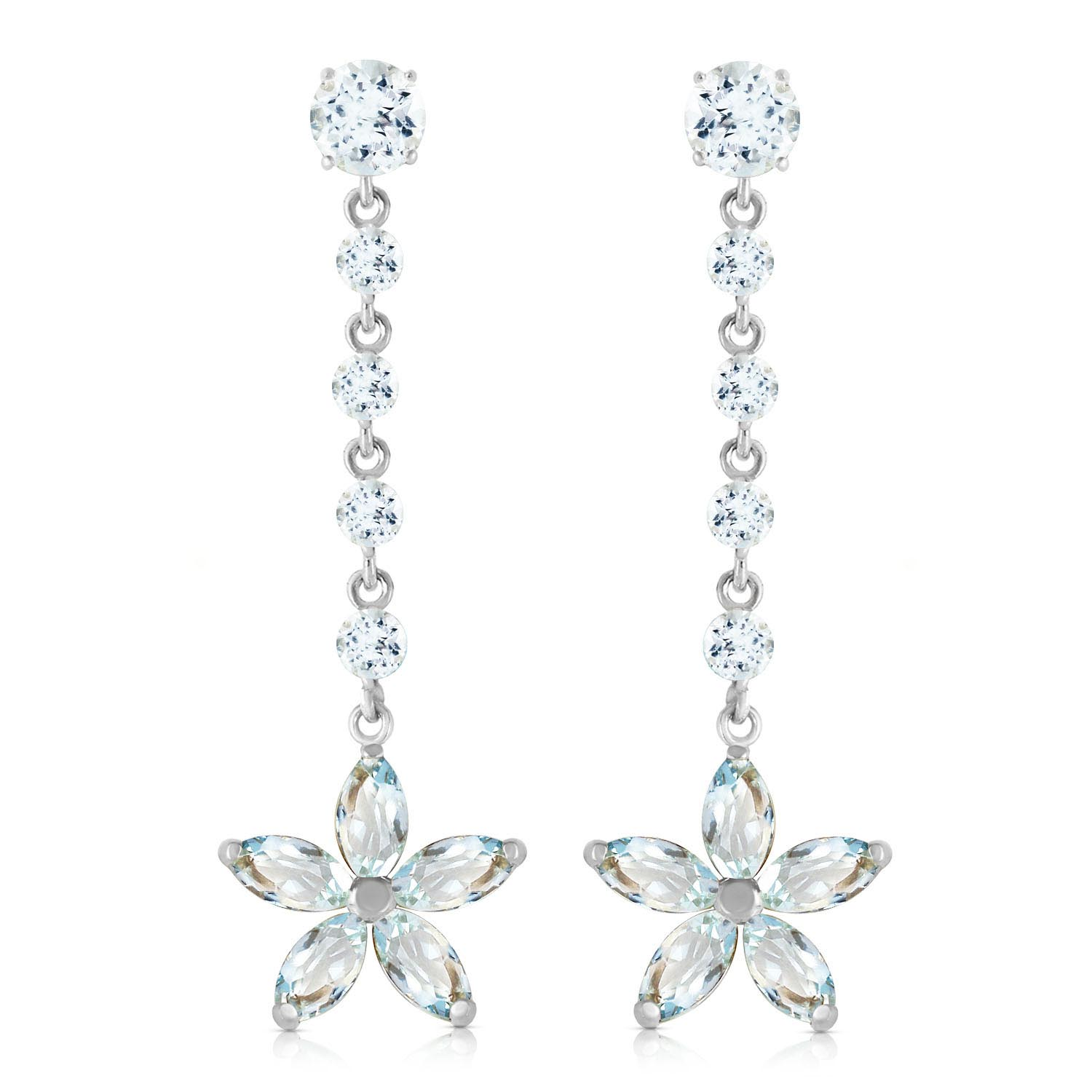 Aquamarine Daisy Chain Drop Earrings 4.8 ctw in 9ct White Gold