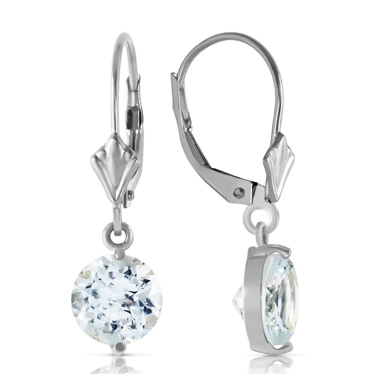Aquamarine Drop Earrings 3.1 ctw in 9ct White Gold