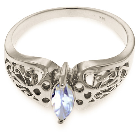 Aquamarine Filigree Ring 0.2 ct in Sterling Silver