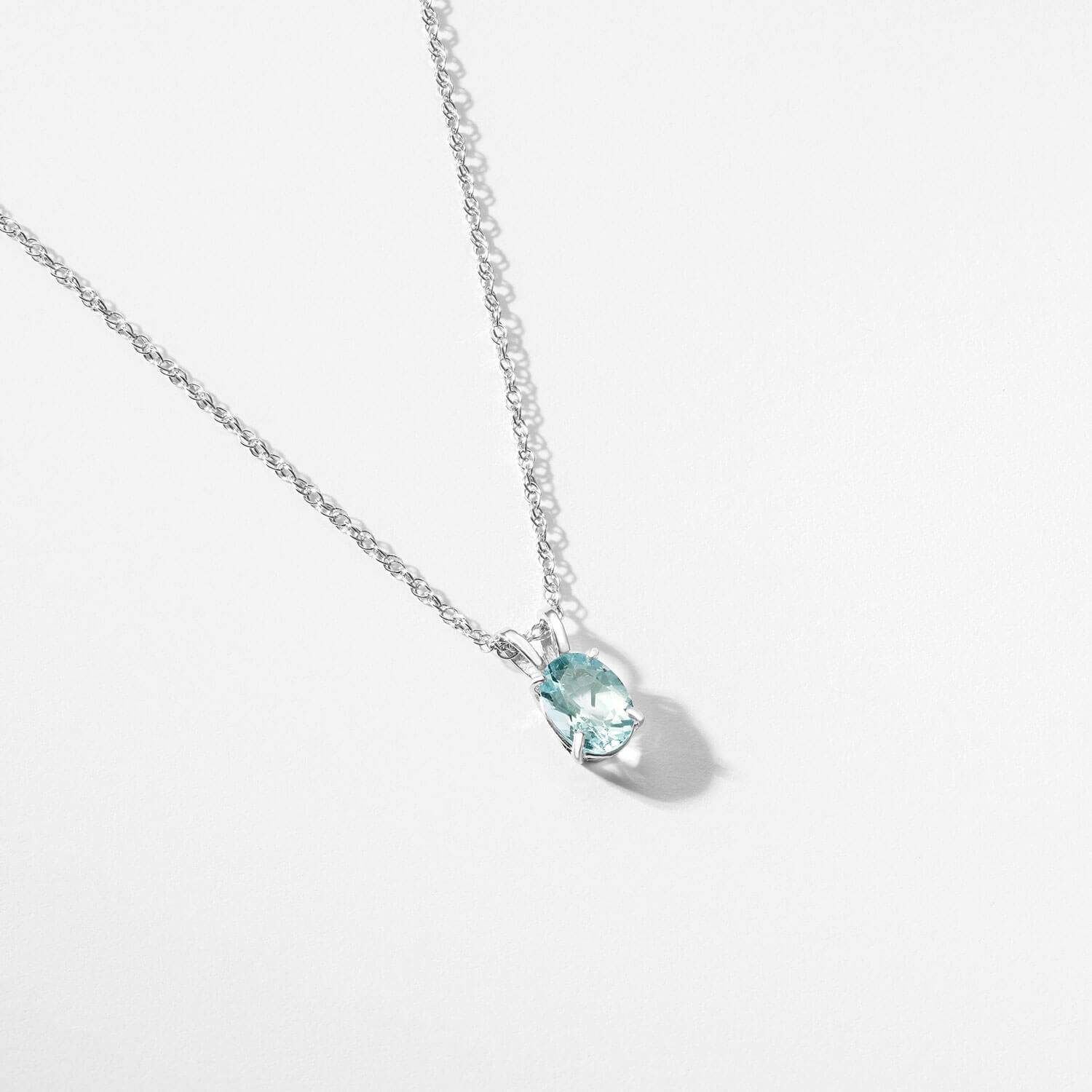 Aquamarine Oval Pendant Necklace 0.75 ct in 9ct White Gold