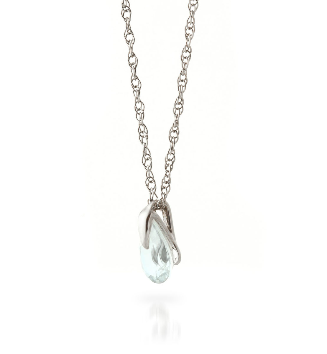 Aquamarine Pear Drop Pendant Necklace 0.68 ct in 9ct White Gold