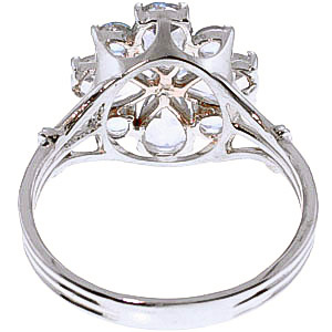 Aquamarine Sunflower Cluster Ring 2.43 ctw in 9ct White Gold