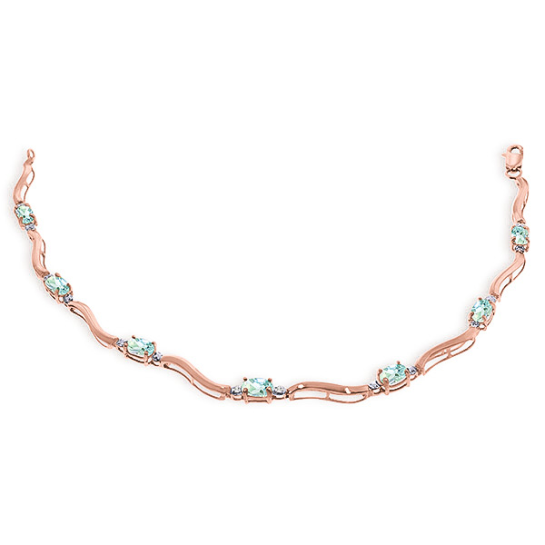 Aquamarine Tennis Bracelet 2.01 ctw in 9ct Rose Gold