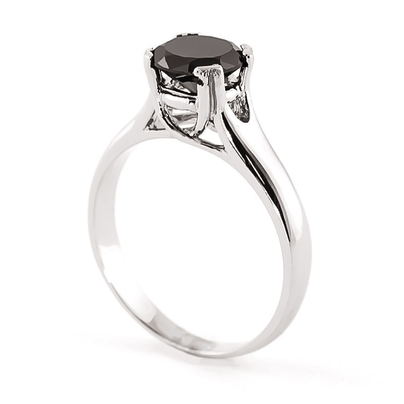 Black Diamond Solitaire Ring 1 Ct In 9ct White Gold 3158w Qp