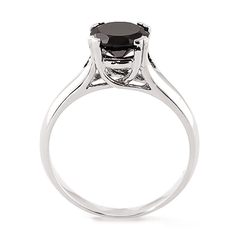 Black Diamond Solitaire Ring 1 ct in 9ct White Gold