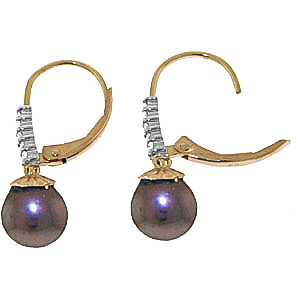 Black Pearl & Diamond Drop Earrings in 9ct Gold