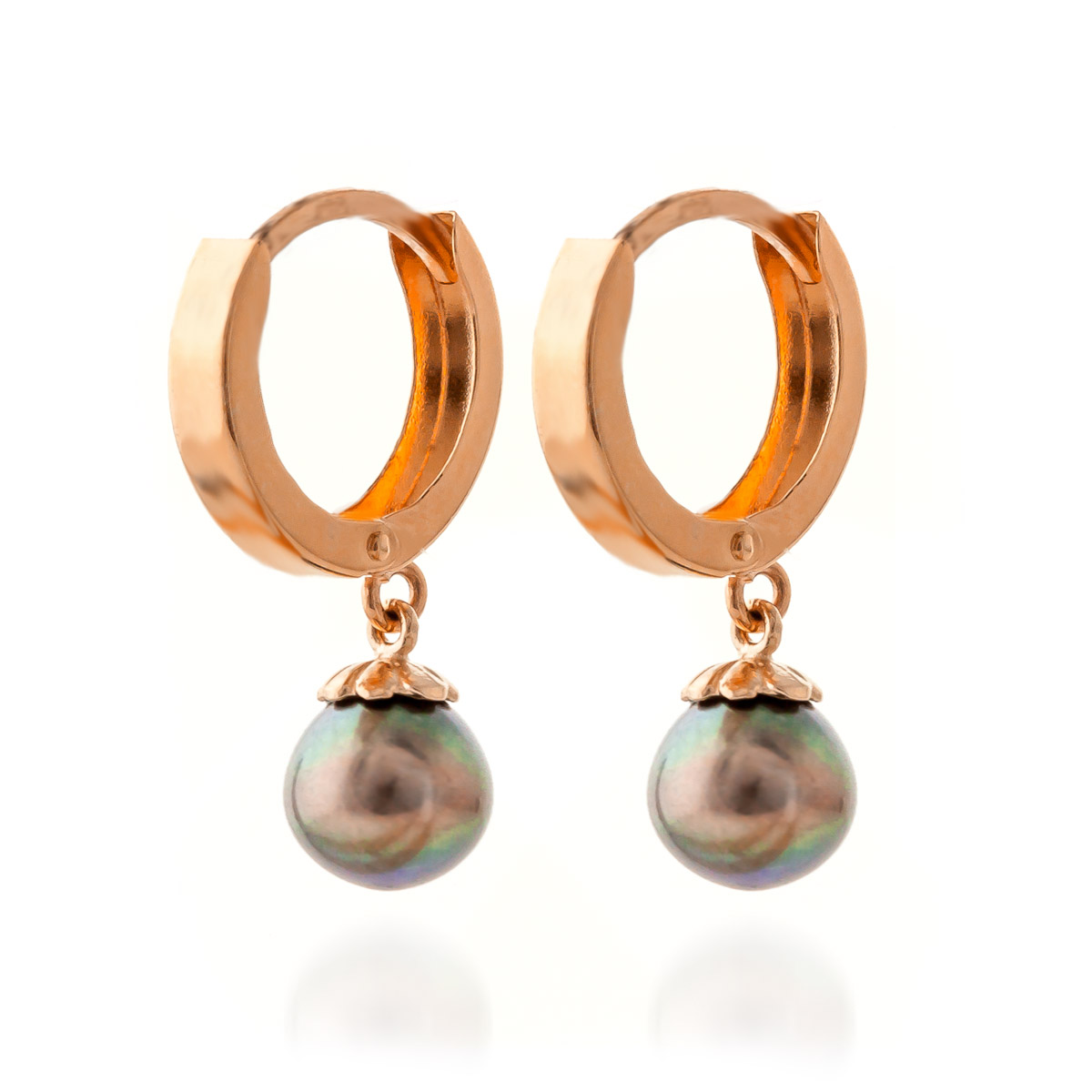 Black Pearl Drop Earrings 4 ctw in 9ct Rose Gold