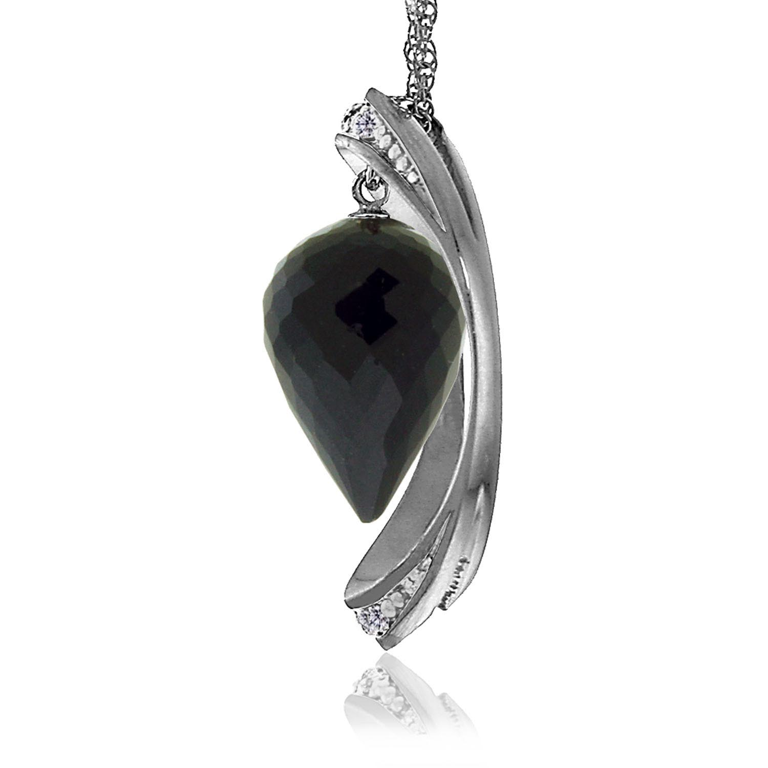 Black Spinel & Diamond Drop Pendant Necklace in 9ct White Gold