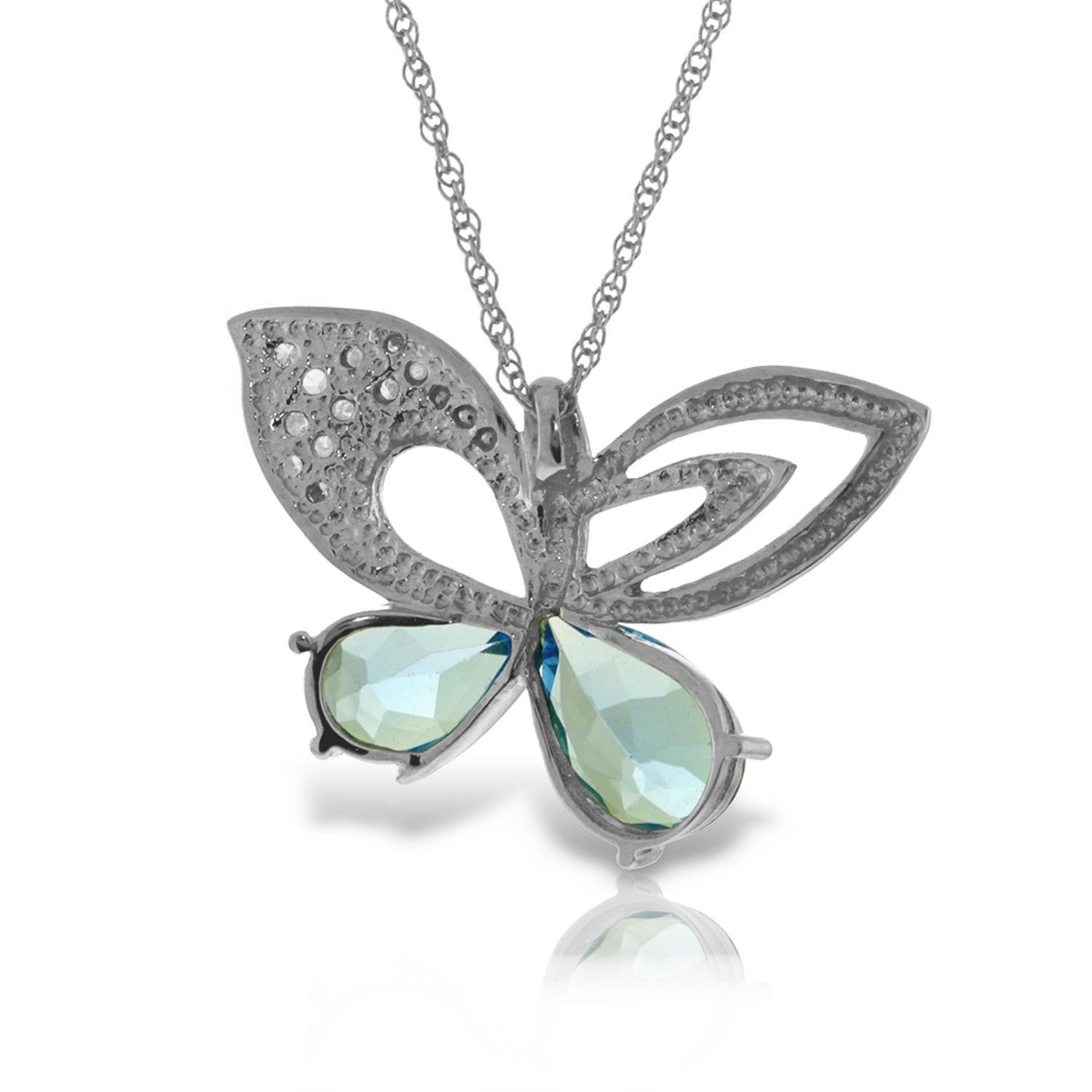 Blue Topaz & Diamond Butterfly Pendant Necklace in 9ct White Gold