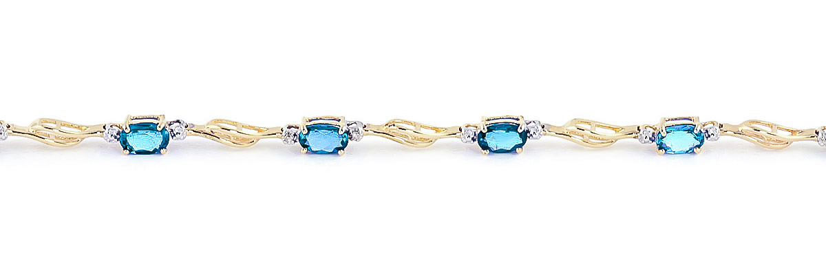 Blue Topaz & Diamond Classic Tennis Bracelet in 9ct Gold