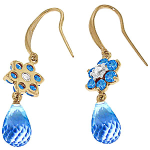 Blue Topaz & Diamond Daisy Chain Drop Earrings in 9ct Gold