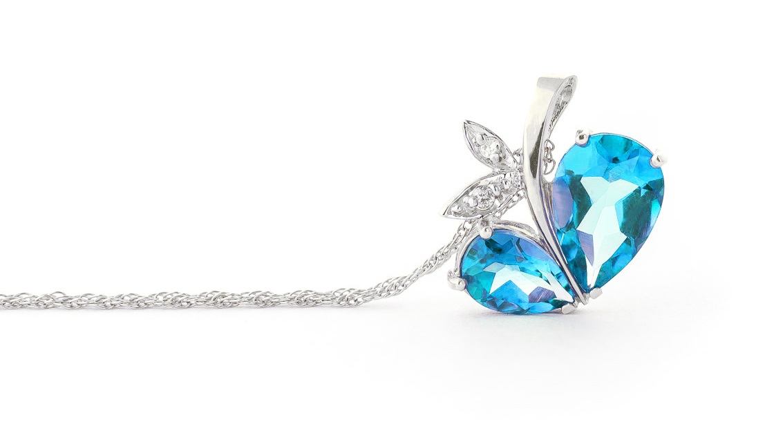 Blue Topaz & Diamond Eternal Pendant Necklace in 9ct White Gold