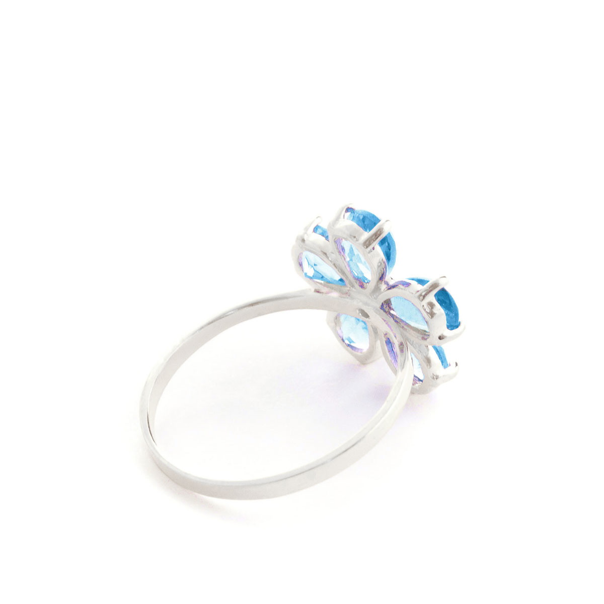 Blue Topaz & Diamond Five Petal Ring in 9ct White Gold
