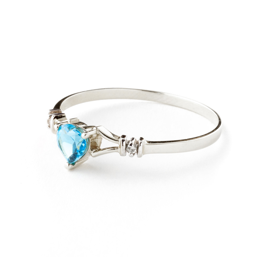 Blue Topaz & Diamond Heart Ring in Sterling Silver