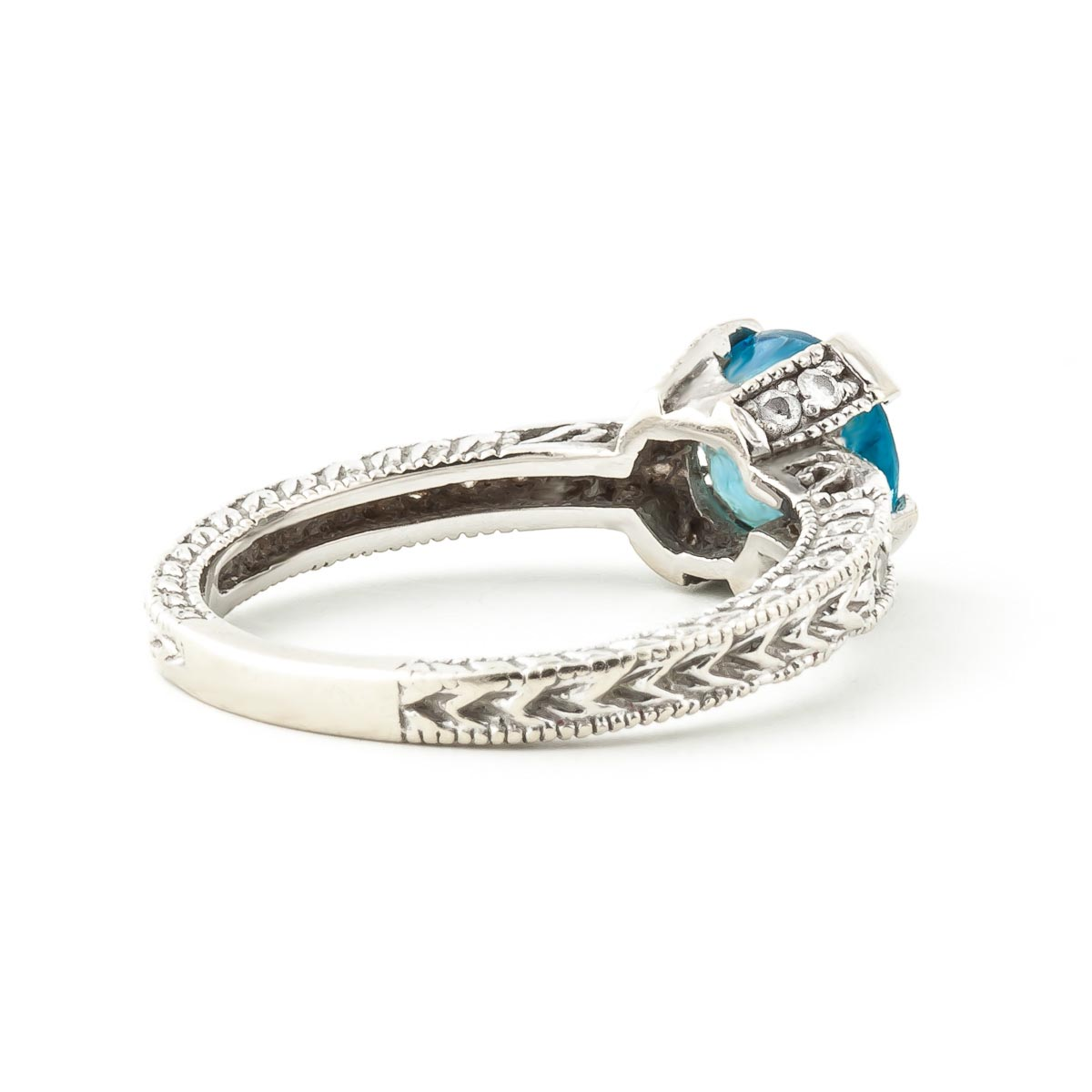 Blue Topaz & Diamond Renaissance Ring in Sterling Silver