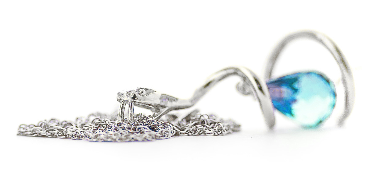 Blue Topaz & Diamond Serpent Pendant Necklace in 9ct White Gold
