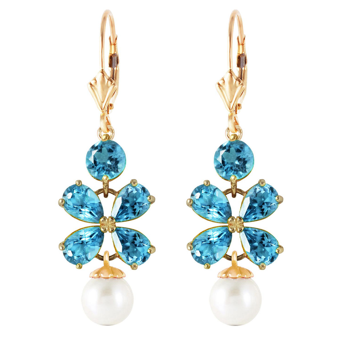 Blue Topaz & Pearl Blossom Drop Earrings in 9ct Gold