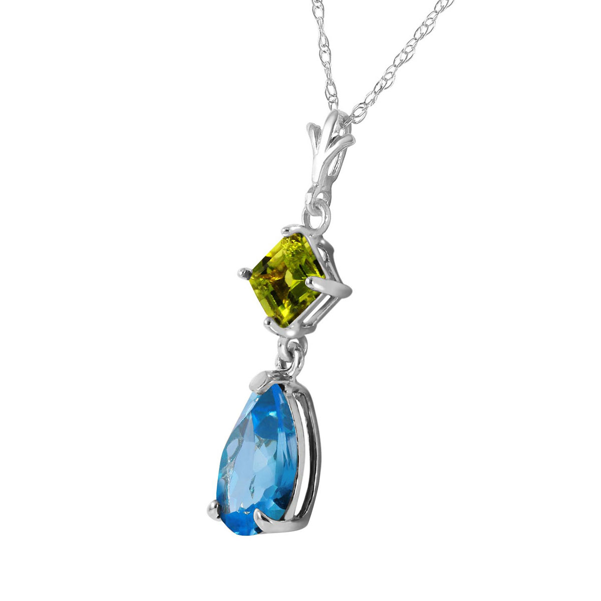 Blue Topaz & Peridot Droplet Pendant Necklace in 9ct White Gold